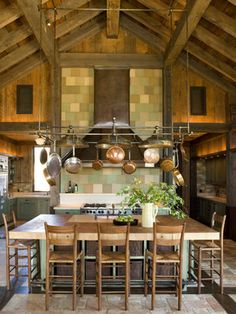 beautiful rustic kitchen, plenty of exposed beams, giant island wth pot rack. Wonder if my kitchen could ever look like this? Beautiful Kitchens, Cool Kitchens, Dream Kitchens, Veranda Interiors, Kitchen Design, Kitchen Decor, Kitchen Ideas, Kitchen Photos, Home Design