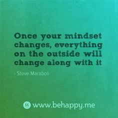 Once your mindset changes, everything on the outside will change along with it