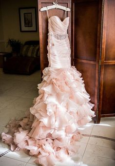 daaa40623a9 Gorgeous ruffled Blush Pink Wedding Dress A Blue-Hued Wedding at 7 Degrees  in Laguna Beach