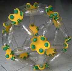 Recycling pop bottles polyhedral structure