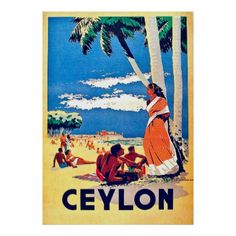 #Ceylon tropic beach vintage travel poster - #travel #trip #journey #tour #voyage #vacationtrip #vaction #traveling #travelling #gifts #giftideas #idea