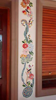 Mosaic Tile Art, Mosaic Pots, Mosaic Crafts, Mosaic Projects, Mosaic Glass, Art Painting Gallery, Mirror Painting, Mosaic Flowers, Wall Drawing