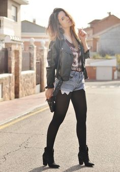 2e7f5de76e7b2 Leather jacket, tee shirt and jean shorts with tights and bootie heels  Tights And Boots