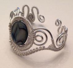 Blue Ice Wire Wrapped Cuff Bracelet