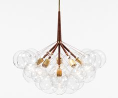 "Pelle Designs Bubble Chandelier  29 with brown leather cord and brass fittings | Jean & Oliver Pelle | 29"" Diam. x 28"" H"