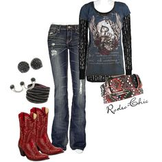 """Lady Luck"" by Rodeo-Chic on Polyvore, Corral red cowboy boots by @corralboots , studded belt, western wear"