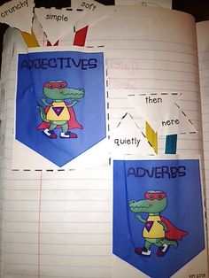 Adjective vs. Adverb pocket sort in interactive note booking $