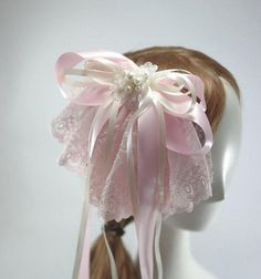 Oversized French Lace Hair Bow in Baby Pink / Pale Pink