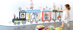 Circus Train Fabric Wall Decals. Easy to use: just peel & stick reusable decals! ***Shipping Info: Please note this item is made to order and takes 5-10 business days to ship. Tracking will be sent out as soon as the product ships.***  All aboard the Choo Choo Train! Made from laughter and fun and dreams-come-true, riding this Choo Choo Train you can wave your friends adieu. 43 Chic Fabric Stickers includes: • 1 Choo-Choo Train includes: 1 Locomotive, 3...