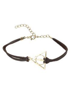 Harry Potter Deathly Hallows Cord Bracelet from hottopic.com #HarryPotter #DeathlyHallows #HotTopic