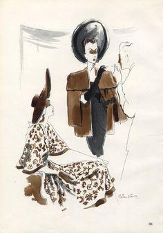 Robert Piguet 1946 Pierre Simon Fashion Illustration