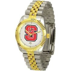 "North Carolina State Wolfpack NCAA ""Executive"" Mens Watch by SunTime. $157.95. 23kt Gold Plate Bezel. Two-Tone Solid Stainless Steel Band. Calendar Date Function. Stainless Steel Case. Safety Clasp. Elegant design for the modern man or woman who wants to show their team spirit! The dial is presented in a sleek, stainless steel case and bracelet that rests fashionably yet comfortably across the wrist. Features a convenient date display, quartz accurate movement and a..."