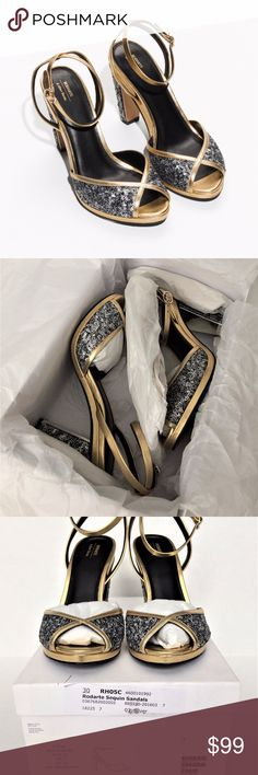 """& Other Stories Rodarte Sequin High Heel Sandals These party-ready sandals are embellished with light-catching sequins, an peep toe, and a thin ankle strap. Cushioned leather insole Leather outsole Heel height: 4.5""""  Material: 100% goat leather  Retail price $175 Rodarte Shoes Heels"""