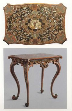 Small table. The veneering is made of palisander, ebony, box-tree woods, mother-of-pearl and tortoiseshell. It shows inserts made of gold, silver, ivory and trimmed with silver (cm 80x87x59).  Period 1731-1733 Turin, The Royal Palace.  Author: Pietro Piffetti (1701-1777).
