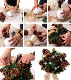 Unique Christmas Ornaments, Christmas Swags, Xmas Wreaths, Easy Christmas Crafts, Christmas Projects, Simple Christmas, Burlap Wreaths, Pine Cone Decorations, Outdoor Christmas Decorations