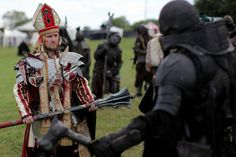 Holy Man enters an uneasy parlay with an Orkish Horde at ConQuest of Mythodea Conquest Of Mythodea, Warrior Priest, Dystopia Rising, Fantasy Outfits, The Inquisition, Spade, Armours, Paladin, Live Action
