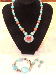 Turquoise color beaded Necklace Earrings and by GabiLuBoutique