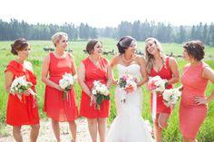 Coral mismatched Bridesmaid dresses