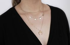 x3 Superposition Colliers Or ou Argent / Collier Lune
