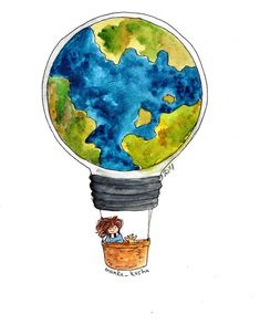 It's Earth day! Let's be kind to our planet. Art And Illustration, Watercolor Illustration, Watercolor Paintings, Painting Inspiration, Art Inspo, Wedding Art, Cute Wallpapers, Cute Drawings, Art Sketches