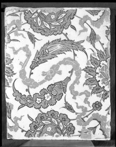 """Tile with cloud band and spiraling 'Saz'-tendril pattern, mid 16th century  Alternate Title: Tile with Intertwined Spiralling Tendrils, Flower Cartouches, """"Saz"""" Leaves and Cloud Bands  Architectural Element  Turkish  ,  16th century  Ottoman Empire, AH 680-1342 / AD 1281-1924  Creation Place: Iznik, Turkey  Fritware  25.4 x 20 x 1.6 cm (10 x 7 7/8 x 5/8 in.)"""