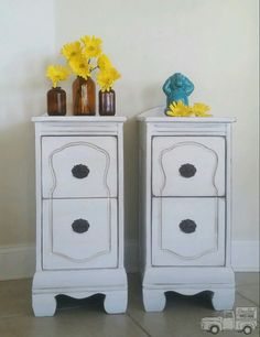 Vanity repurposed into cute nightstands.  Miss Lillian's No-Wax Chock Paint Fresh Sweet Cream, a little Truffle glaze and lightly distressed.