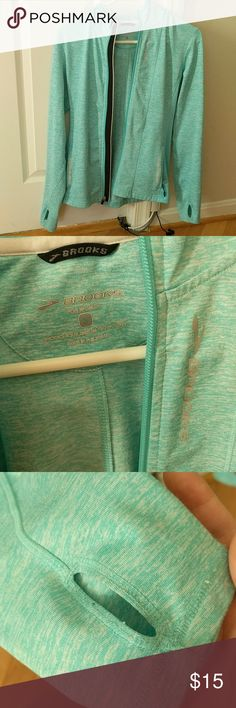 Brooks lightweight blue running jacket/ hoodie Lightweight full-zip hoodie with thumbholes, reflective features, and a ponytail slot.  Great for running or post workout errands! Very soft interior.  Great condition! Brooks Jackets & Coats