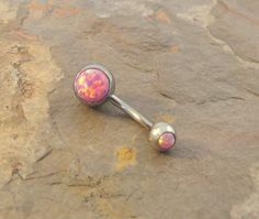 Pink opal belly ring