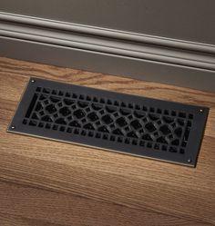 Brass Register | Rejuvenation #GetGuestReady Floor Vent Covers, Air Vent Covers, Guest Bathrooms, Master Bathroom, Bathroom Ideas, Register Covers, Mirrored Wallpaper, Floor Fans, Porch Accessories