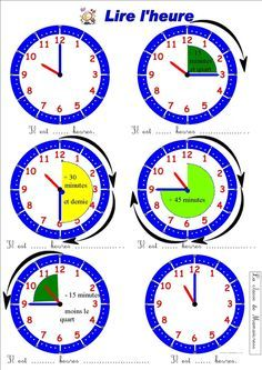 read hour and quarter to quarter – Education Subjects French Teaching Resources, Teaching French, Math Resources, Teaching Tools, Mental Maths Worksheets, French Worksheets, French Kids, French Grammar, Montessori Math