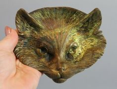 Small-Antique-Figural-Bronze-Cat-Head-Tray-Sculpture-No-Reserve