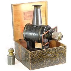 Image of Cylindrical Child's Magic Lantern Antique Cameras, Vintage Cameras, Camera Obscura, Antique Toys, Magic, Antiques, Gopro, Glass, Animation
