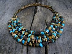 Turquoise necklace Statement Turquoise Necklace  Multi