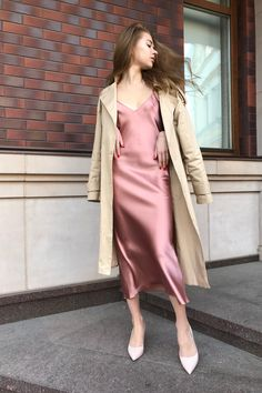 Awesome Ideas Of Valentine's Day Outfit For Romantic Date – Trendy Fashion Ideas Silk Satin Dress, Silk Slip, Satin Dresses, Satin Slip, Slip Dress Outfit, Dress Outfits, Fashion Dresses, Nude Dress, Prom Dress