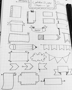 Bullet journal frames and banners. Bullet Journal Headers, Bullet Journal Banner, Bullet Journal Notes, Doodles, Sketch Notes, Lettering Tutorial, Bullet Journal Inspiration, Journal Ideas, Doodle Art