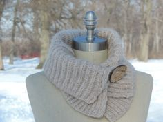 Reversible Collar Style Neckwarmer in Ivory by AgnesKrisCreations, $45.00