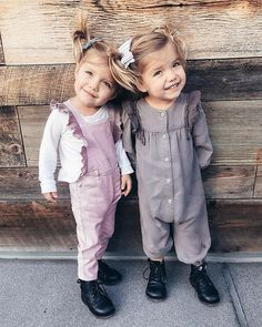 I feel like its easy to tell us apart in this photo! Can you guess who is who? Twin Girls Outfits, Little Girl Outfits, Cute Little Girls, Little Babies, Kids Outfits, Cute Twins, Cute Babies, Toddler Fashion, Kids Fashion