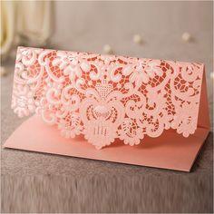 Loverly flor de corte por láser invitación de la boda sobres, sobre de color rosa para nupciales de la ducha, dinero del sobre del partido del sobres(China (Mainland))
