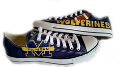 University of Michigan Michigan U of M Painted by BoutiqueWhimsy University Of Michigan, Michigan Wolverines Shoes, Michigan Go Blue, Michigan Game, On Shoes, Shoe Boots, Painted Canvas Shoes, Painted Converse, Football Shoes