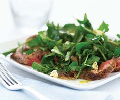 Watercress Salad with Steak, Sautéed Shallots & Stilton recipe-- could use this salad as a bed for finished kebabs and steaks to rest on after grilling!