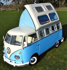 I would love to have a BUS!  How much fun would this be! Beautiful '64 VW 13-Window Bus with Dormobile Top
