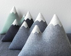 SET the Peaks Mountain Pillows made to order by ThreeBadSeeds