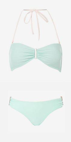 Ted Baker Plain bar bikini top, Mint