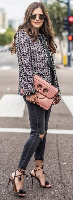 how to wear a blazer : bag + top + ripped jeans + heels