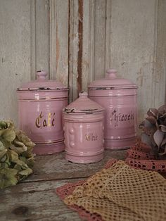 pink canisters kitchen jars display a retro pastel kitchen and baking 14554