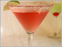 Gorgeous Martini  1.5oz Pear Grey Goose Vodka  1oz Pineapple Juice   1/2 oz.  Watermelon or Strawberry Pucker   Lemon & Lime wedge as Garnish  In a shaker, mix vodka, Pineapple Juice, Pucker and Crushed Ice.  Strain into chilled martini glass  Garnish with Lemon or Lime Wheel