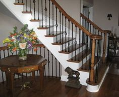 Stain Wood Stairs  Mountain Laurel Handrails at http://awoodrailing.com