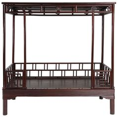 Antique 19th Century Chinese Ju Mu Six Post Canopy Bed, Chinoserie, Suzhou | From a unique collection of antique and modern furniture at https://www.1stdibs.com/furniture/asian-art-furniture/furniture/