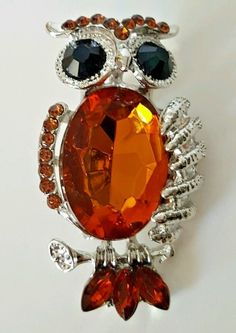 Silver Tone Amber Brown Simulated Crystal Wise Owl Lapel Pin Scarf Brooch  #Unbranded