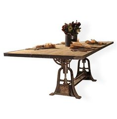 Monterrey Industrial Loft Iron Reclaimed Wood Adjustable Dining Table